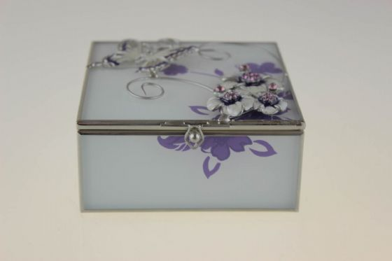 JULIANA BUTTERFLY AND FLOWERS GLASS & WIRE TRINKET/JEWELLERY BOX GIFT FOR HER!